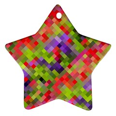 Colorful Mosaic Star Ornament (two Sides)  by DanaeStudio