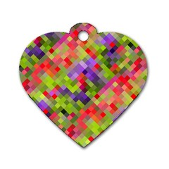 Colorful Mosaic Dog Tag Heart (one Side) by DanaeStudio