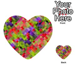 Colorful Mosaic Multi Purpose Cards (heart)  by DanaeStudio