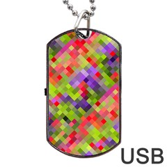 Colorful Mosaic Dog Tag Usb Flash (one Side) by DanaeStudio