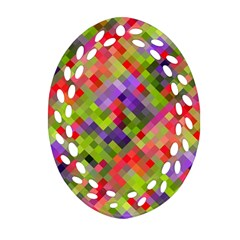 Colorful Mosaic Oval Filigree Ornament (2 Side)  by DanaeStudio