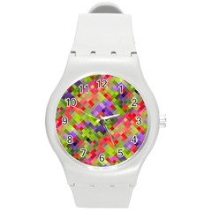 Colorful Mosaic Round Plastic Sport Watch (m) by DanaeStudio