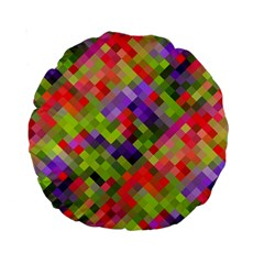 Colorful Mosaic Standard 15  Premium Round Cushions by DanaeStudio