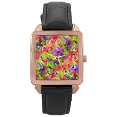 Colorful Mosaic Rose Gold Leather Watch  by DanaeStudio