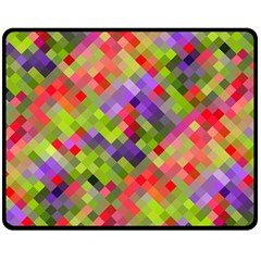 Colorful Mosaic Double Sided Fleece Blanket (medium)  by DanaeStudio
