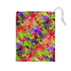 Colorful Mosaic Drawstring Pouches (large)  by DanaeStudio