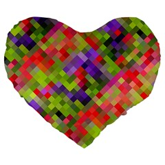 Colorful Mosaic Large 19  Premium Flano Heart Shape Cushions by DanaeStudio