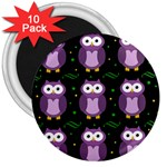 Halloween purple owls pattern 3  Magnets (10 pack)  Front