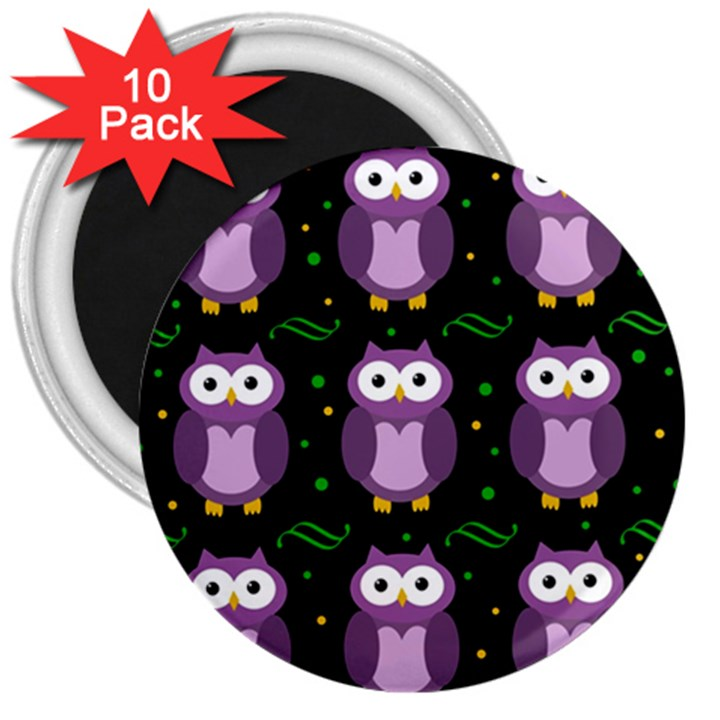 Halloween purple owls pattern 3  Magnets (10 pack)
