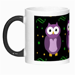 Halloween Purple Owls Pattern Morph Mugs by Valentinaart