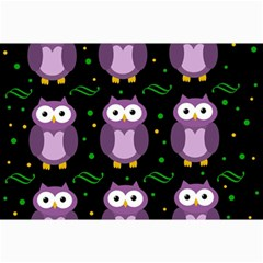 Halloween Purple Owls Pattern Collage Prints by Valentinaart