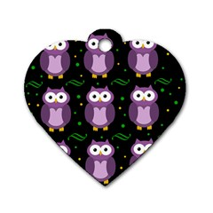 Halloween Purple Owls Pattern Dog Tag Heart (one Side) by Valentinaart