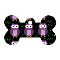 Halloween Purple Owls Pattern Dog Tag Bone (one Side) by Valentinaart