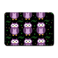 Halloween Purple Owls Pattern Small Doormat  by Valentinaart