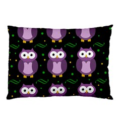 Halloween Purple Owls Pattern Pillow Case (two Sides) by Valentinaart