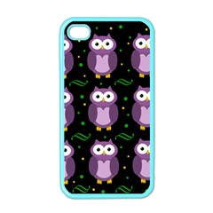 Halloween Purple Owls Pattern Apple Iphone 4 Case (color) by Valentinaart