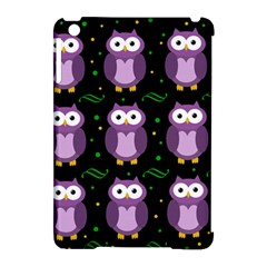 Halloween Purple Owls Pattern Apple Ipad Mini Hardshell Case (compatible With Smart Cover) by Valentinaart