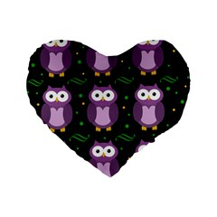 Halloween Purple Owls Pattern Standard 16  Premium Heart Shape Cushions by Valentinaart
