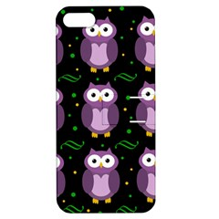 Halloween Purple Owls Pattern Apple Iphone 5 Hardshell Case With Stand by Valentinaart