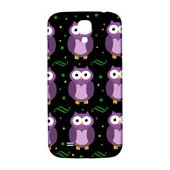 Halloween Purple Owls Pattern Samsung Galaxy S4 I9500/i9505  Hardshell Back Case by Valentinaart