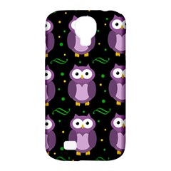 Halloween Purple Owls Pattern Samsung Galaxy S4 Classic Hardshell Case (pc+silicone) by Valentinaart