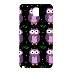 Halloween Purple Owls Pattern Samsung Galaxy Note 3 N9005 Hardshell Back Case by Valentinaart