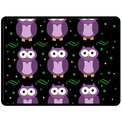 Halloween Purple Owls Pattern Double Sided Fleece Blanket (large)  by Valentinaart
