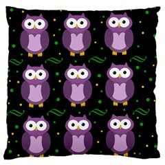 Halloween Purple Owls Pattern Large Flano Cushion Case (two Sides) by Valentinaart