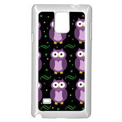 Halloween Purple Owls Pattern Samsung Galaxy Note 4 Case (white) by Valentinaart