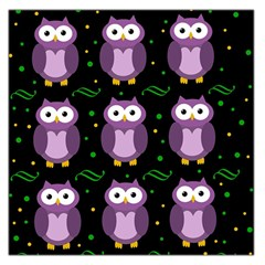 Halloween Purple Owls Pattern Large Satin Scarf (square) by Valentinaart