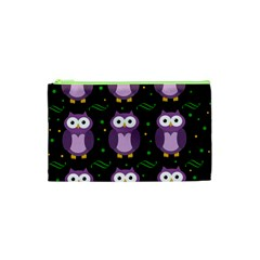 Halloween Purple Owls Pattern Cosmetic Bag (xs) by Valentinaart