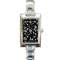 Black And White Starry Pattern Rectangle Italian Charm Watch by DanaeStudio