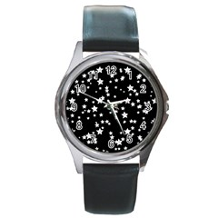 Black And White Starry Pattern Round Metal Watch by DanaeStudio