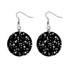 Black And White Starry Pattern Mini Button Earrings by DanaeStudio