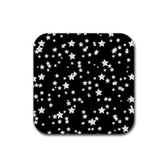 Black And White Starry Pattern Rubber Coaster (square)  by DanaeStudio