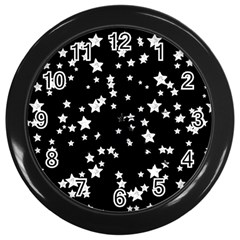 Black And White Starry Pattern Wall Clocks (black) by DanaeStudio