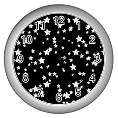 Black And White Starry Pattern Wall Clocks (silver)  by DanaeStudio