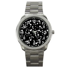 Black And White Starry Pattern Sport Metal Watch by DanaeStudio