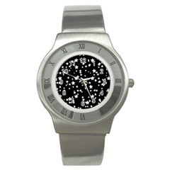 Black And White Starry Pattern Stainless Steel Watch by DanaeStudio