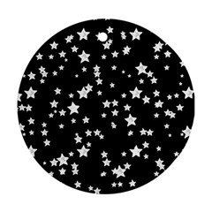 Black And White Starry Pattern Round Ornament (two Sides)  by DanaeStudio