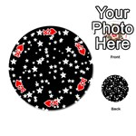 Black And White Starry Pattern Playing Cards 54 (Round)  Front - HeartK