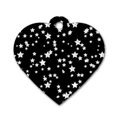 Black And White Starry Pattern Dog Tag Heart (two Sides) by DanaeStudio