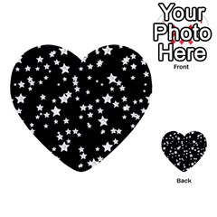 Black And White Starry Pattern Multi Purpose Cards (heart)  by DanaeStudio