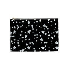 Black And White Starry Pattern Cosmetic Bag (medium)  by DanaeStudio