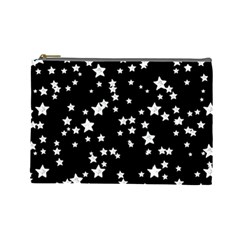 Black And White Starry Pattern Cosmetic Bag (large)  by DanaeStudio