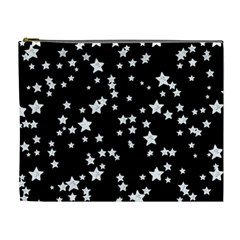 Black And White Starry Pattern Cosmetic Bag (xl) by DanaeStudio