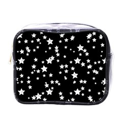 Black And White Starry Pattern Mini Toiletries Bags by DanaeStudio