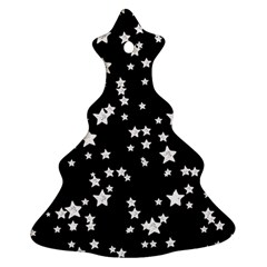 Black And White Starry Pattern Ornament (christmas Tree) by DanaeStudio