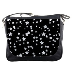 Black And White Starry Pattern Messenger Bags by DanaeStudio