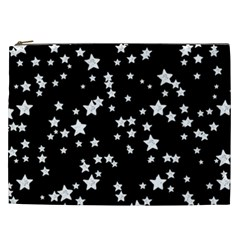 Black And White Starry Pattern Cosmetic Bag (xxl)  by DanaeStudio